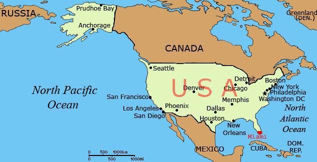 Положение miami в северной америке